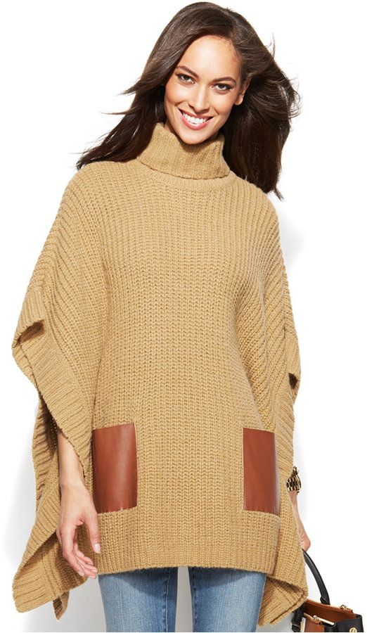 MICHAEL Michael Kors Faux-Leather-Pocket Turtleneck Poncho - women's fashion (dark camel sweater, clothing apparel)