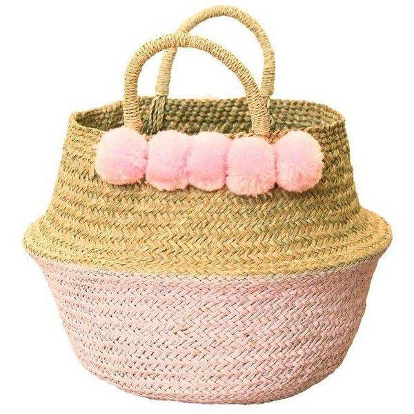 Double Woven Sea Grass Pastel Pink Pom Poms Belly Basket ($57) ❤ liked on Polyvore featuring home, home decor, small item storage, baskets, storage baskets, woven storage baskets, handwoven baskets, weave basket and seagrass storage basket