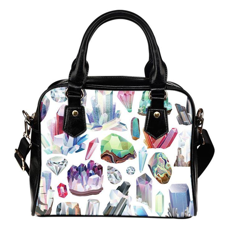 Leather Handbag Pastel Crystal