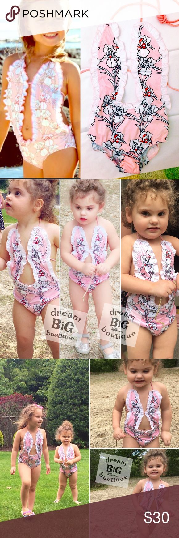 Toddler girl Swimsuit 1pc V pink size 18 24 2 3 4 Welcome to Dream BiG little Ones Boutique! Our Diva Deep V Swim Collection is quickly becoming a 2017 customer favorite :)  What Mommy's love most about this swim line -  TIE STRAPS! They allow you to easily and effortlessly adjustments the suits to fit your growing child My favorite part? This suit will last you more than one season! Tag price: $59.99-$79.99 THIS POSTING:  Design - Parisol Pink  Size: 18 24 2T 3T 4T & 5T - all in stock…
