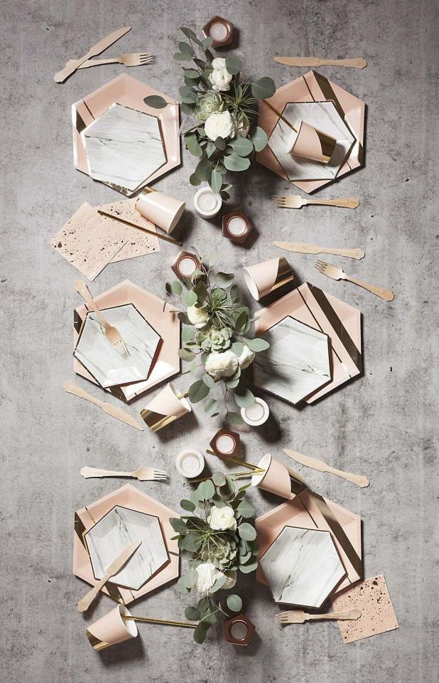Copper & Marble Wedding Decor