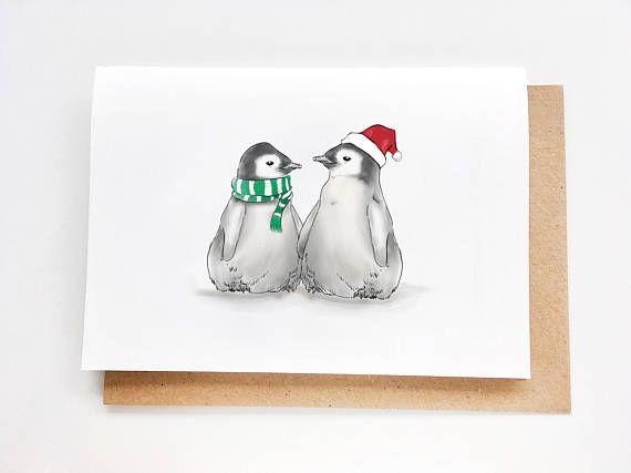 Christmas Card  Baby Penguins  Just Because Weihnachten