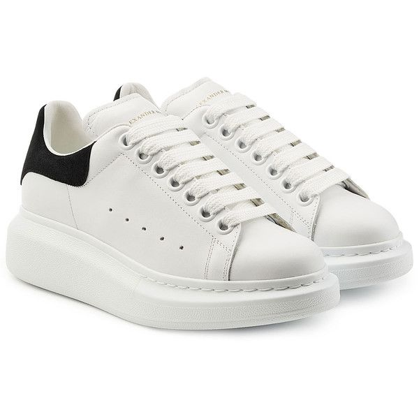 Alexander McQueen Leather Sneakers (£360) ❤ liked on Polyvore featuring shoes, sneakers, sko, white, platform trainers, chunky platform shoes, leather platform shoes, leather shoes and white platform sneakers