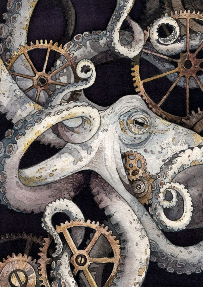 "Amazing watercolor painting of an octopus and gears by Chloe Yingst. The commissioned piece is entitled ""Sofia."""