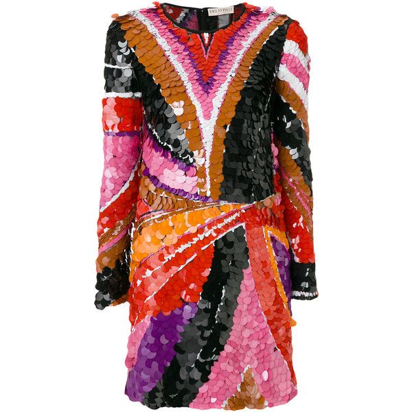 Emilio Pucci sequinned fitted mini dress ($5,050) ❤ liked on Polyvore featuring dresses, multi colored sequin dress, multi-color dresses, multi color sequin dress, multi colored dress and multicolor sequin dress