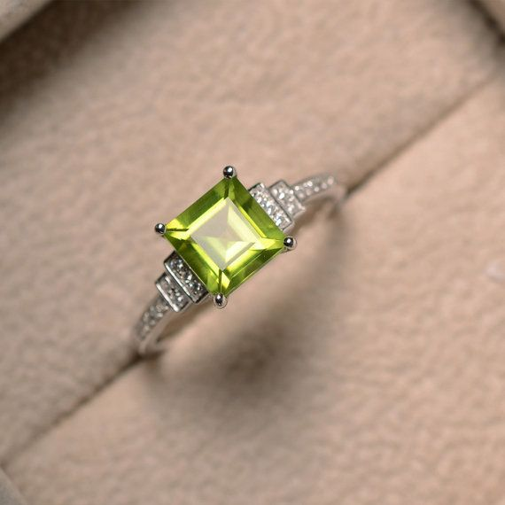 Natural peridot ring square cut engagement promise by LuoJewelry
