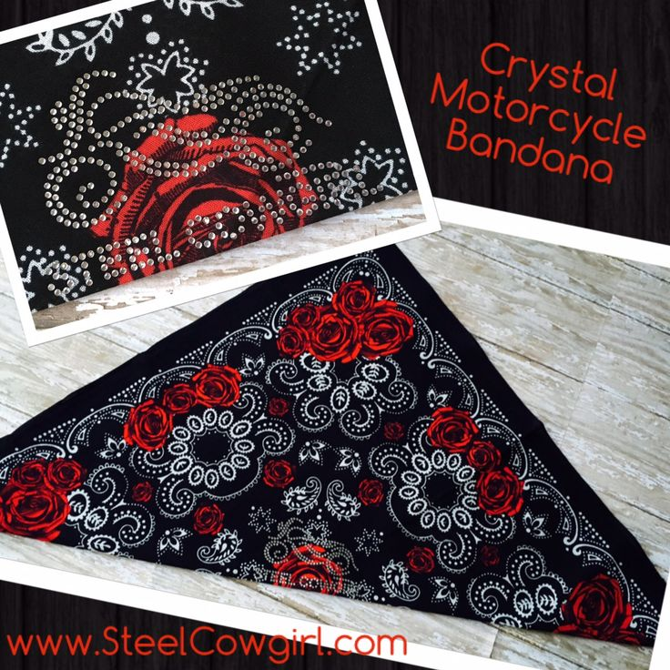 Red Roses Crystal Motorcycle Bandana Headwrap by Steel Cowgirl