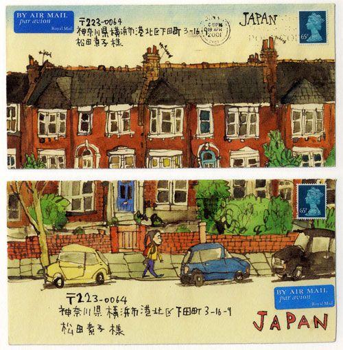 Illustrated Envelopes sent by illustrators to their publishers: Satoshi Kitamura