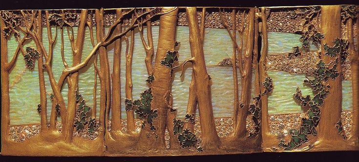René Lalique. 1898 signed 'Wooded Landscape by the Water' Dog Collar Plaque. A rectangular, curved, articulated plaque. The landscape consists of a lake of carved opals with trees of gold and ivy of translucent green enamel. The shoreline is of gold, studded with diamonds. Calouste Gulbenkian Museum, acquired from the artist in 1899.