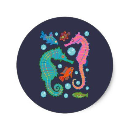 Seahorses and Fish Swimming in an Ocean of Bubbles Classic Round Sticker - ocean side nature waves freedom design