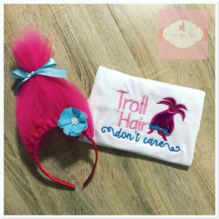 Embroidered troll hair design