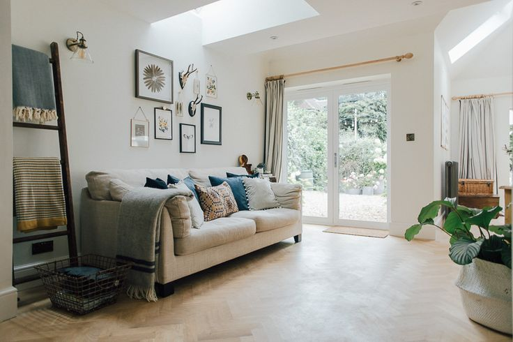 Parquet Flooring And Sofa In Snug Area Of A Kitchen - A Modern Country Farrow & Ball Kitchen With Oak Parquet Flooring
