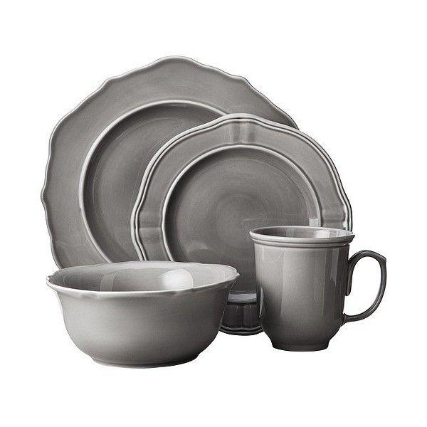Threshold 16 Piece Wellsbridge Dinnerware Set ($60) ❤ liked on Polyvore featuring home, kitchen & dining, dinnerware, grey, grey dinnerware sets, threshold dinnerware, gray dinner plates, grey dinnerware and gray dinnerware set