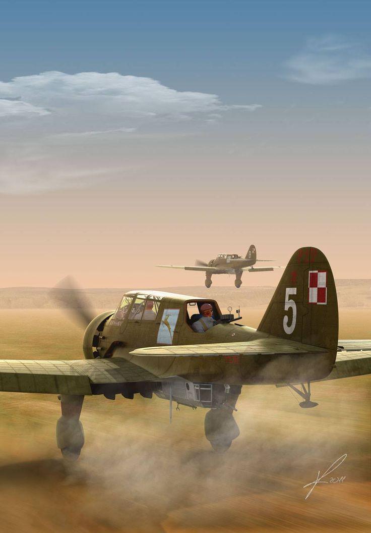 PZL.23 Karaś – polski lekki bombowiec i samolot rozpoznawczy. 24 Eskadra Rozpoznawcza, 2 Pułk Lotniczy, wrzesień 1939 r. Rys. Marek Ryś.