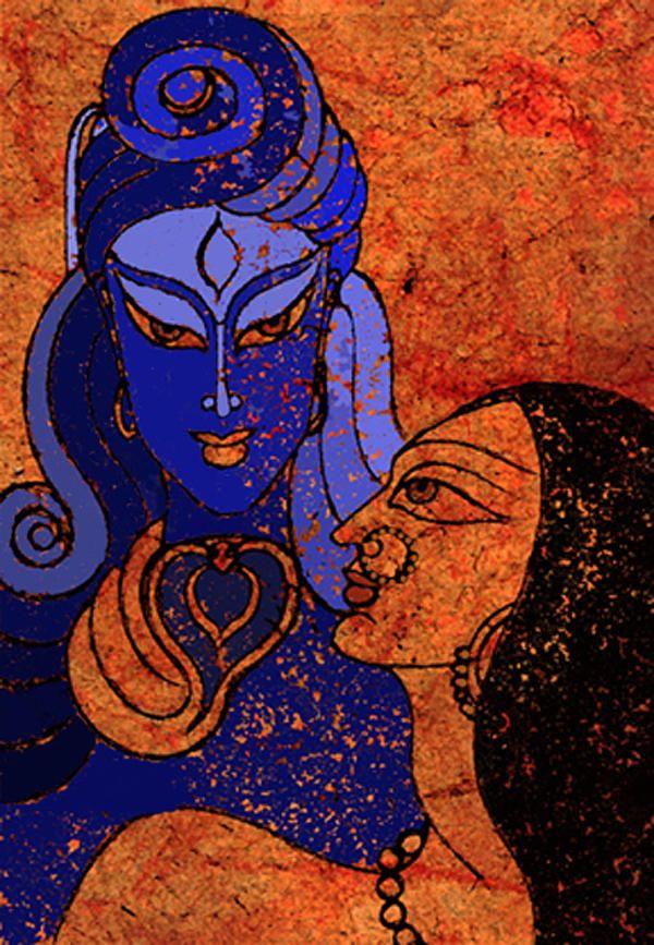 Shiva and Shakti Mixed Media  - Shiva and Shakti Fine Art Print by Sonali Chaudhari