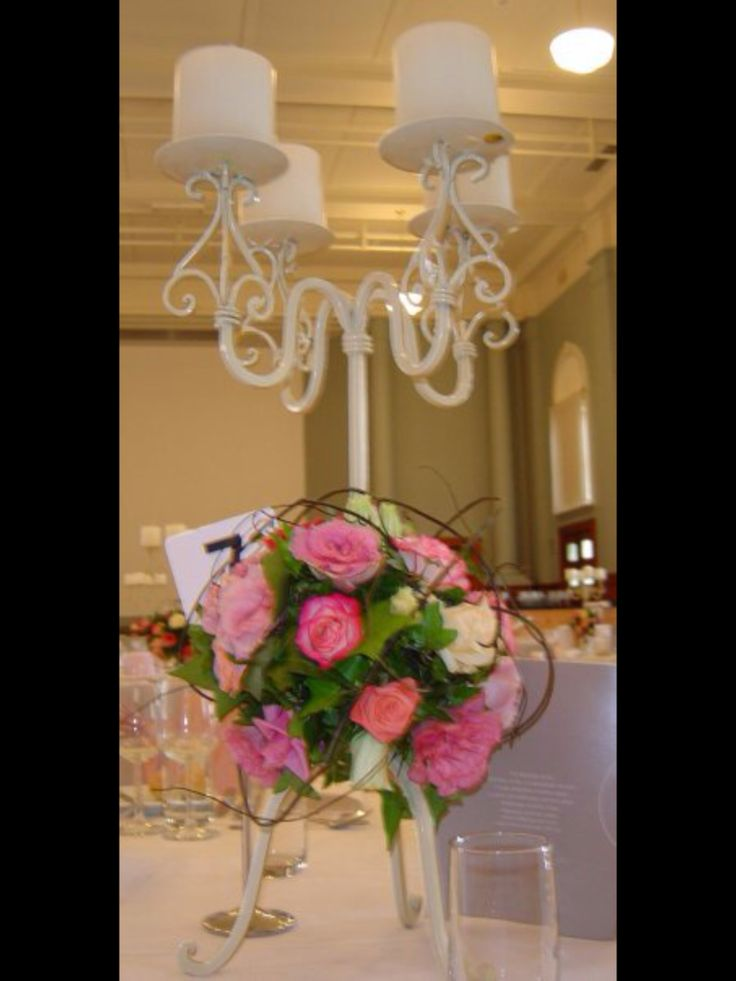 Absolutely beautiful, elegant shabby chic rose ball candelabra by www.newminsterfunctiondesign.com