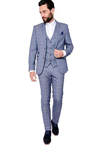 bb9207afa68d Marc Darcy Mens 3 Piece Slim Fit Blue Check Print Tweed Inspired Casual  Business Wedding Suit Formal Blazer, Single Breasted Waistcoat and Trousers  34-52 ...