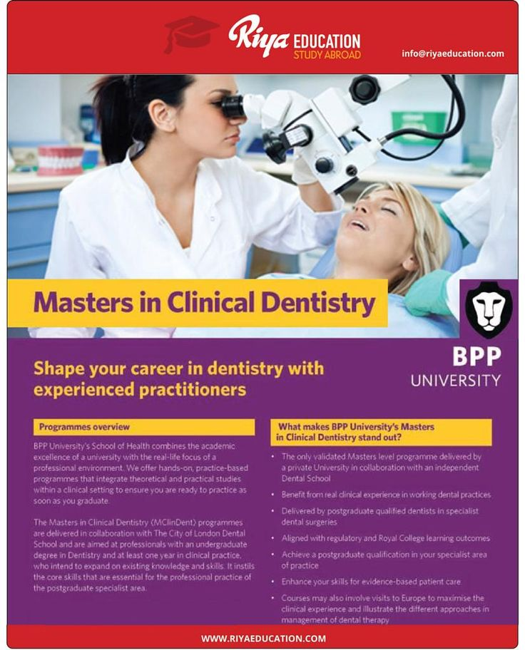 Masters in Clinical Dentistry at BPP University.  Shape your career with experienced practitioners. Wish to know more? Get in touch with Riya Education. Visit our website for contact details.