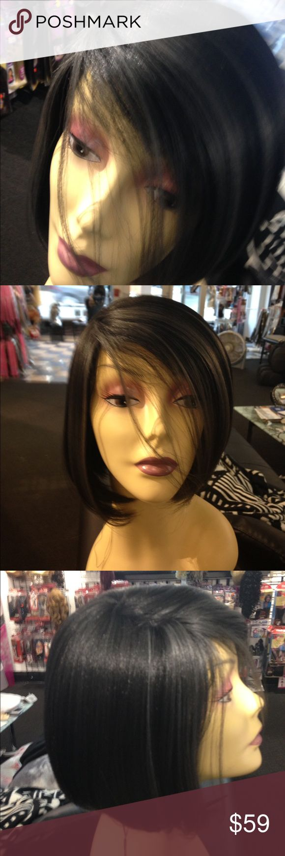 #Ombre #Wig Tess #Milwaukee heat ok adjustable This is a black bob with a streak on each side in front of grey it's super cute super trendy Tess Wigs Milwaukee all my wigs are new sold from my real wig shops in the USA 5 star posher 5 star reviews Accessories Hair Accessories