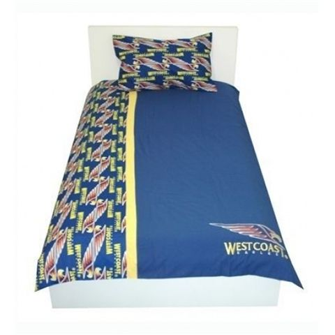 SINGLE or QUEEN West Coast Eagles AFL Official Licensed Doona Cover SET