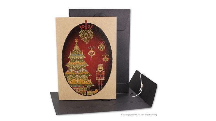 """Briefumschlag C6, Bindfadenverschluss, schwarz, glatt, Kraftpapier mit Weihnachtskarte """"Nussknacker"""""""