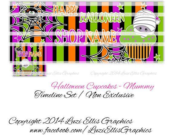 Halloween Cupcake Mummy Spider Facebook by LuziEllisGraphics