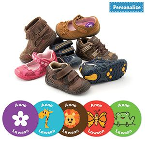 "PERSONALIZED SHOE LABELS (SET OF 20)  Help kids to easily identify their shoes! Super tough, waterproof labels adhere to the insoles of almost any type of shoes or boots, and won't wear off. Personalization: 2 lines, up to 10 characters per line. 1-5/8""Diam.   http://lindafbrown.shopregal.ca/PWS/Products/ProductDetails.aspx?prodid=9531=12015=120"