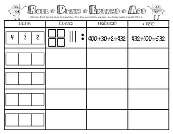 PLACE VALUE GAME- ROLL, DRAW, EXPAND, ADD AND WRITE - TeachersPayTeachers.com