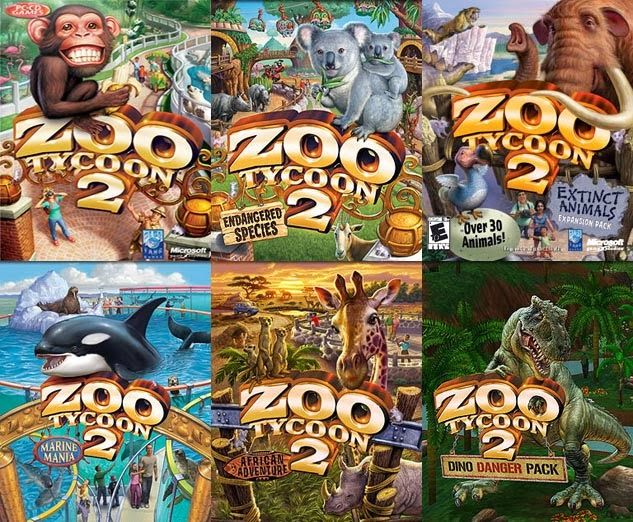 Zoo Tycoon 2, Dino Danger, Endangered Species, Extinct Animals, African Adventures. Best game on the computer ever.