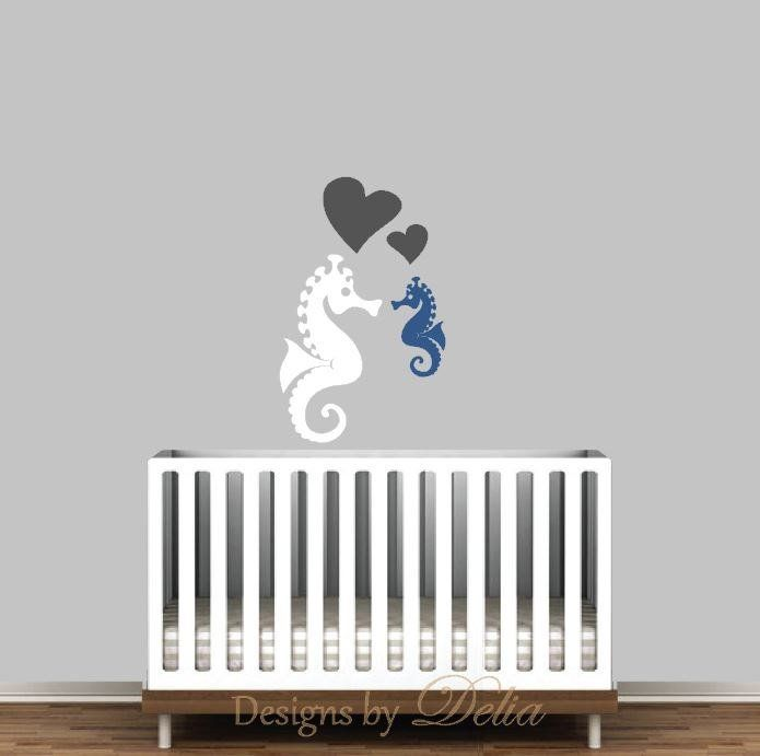 """♥♥♥♥ Included ♥♥♥♥ 1 Seahorse - 24"""" tall by 13"""" wide 1 Baby Seahorse - 13"""" by 7"""" wide 2 hearts Directions for applying your decals ♥♥♥♥ Colors ♥♥♥♥♥ In the 'message to seller' section at checkout plea"""