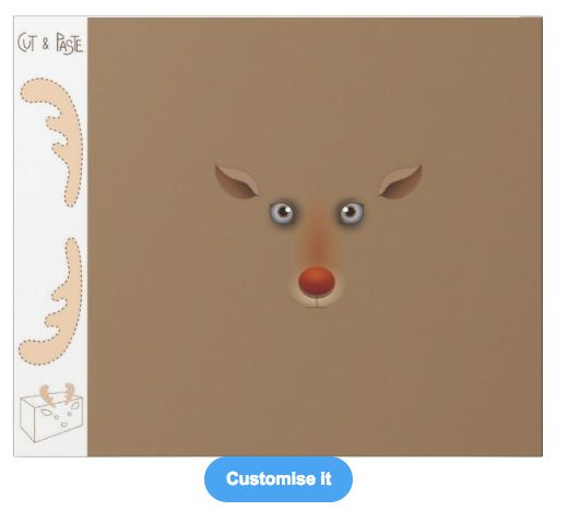 """""""Cut & paste reindeer"""" custom christmas wrapping paper pattern with instructions! on sale in my zazzle store www.zazzle.com/martinaterzi check it out!"""