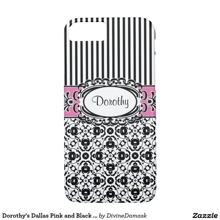 Dorothy's Dallas Pink and Black Damask and Stripes iPhone 7 Case