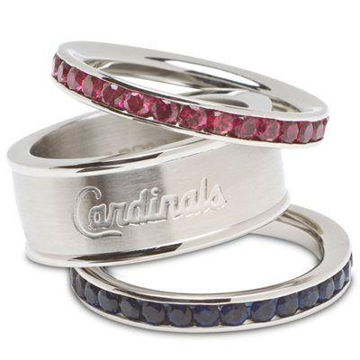 St. Louis Cardinals Ladies Spirit Crystal Stacked Ring Set!