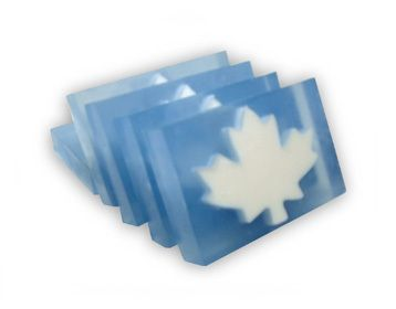 Soap bar Maple Leaf.  Handmade in Canada.  Net weight: 180 gr  Ingredients:  Aqua, Vegetable Glycerin, Palm Kernel Oil, Coconut Oil Fatty Acid, Propylene Glycol, Sodium Palm Kernelate, Sorbitol, Sodium Chloride, Sodium Hydroxide, Citric Acid, Simmondsia Chinensis (Jojoba) Oil, Tetrasodium EDTA, Parfume. - $6.50