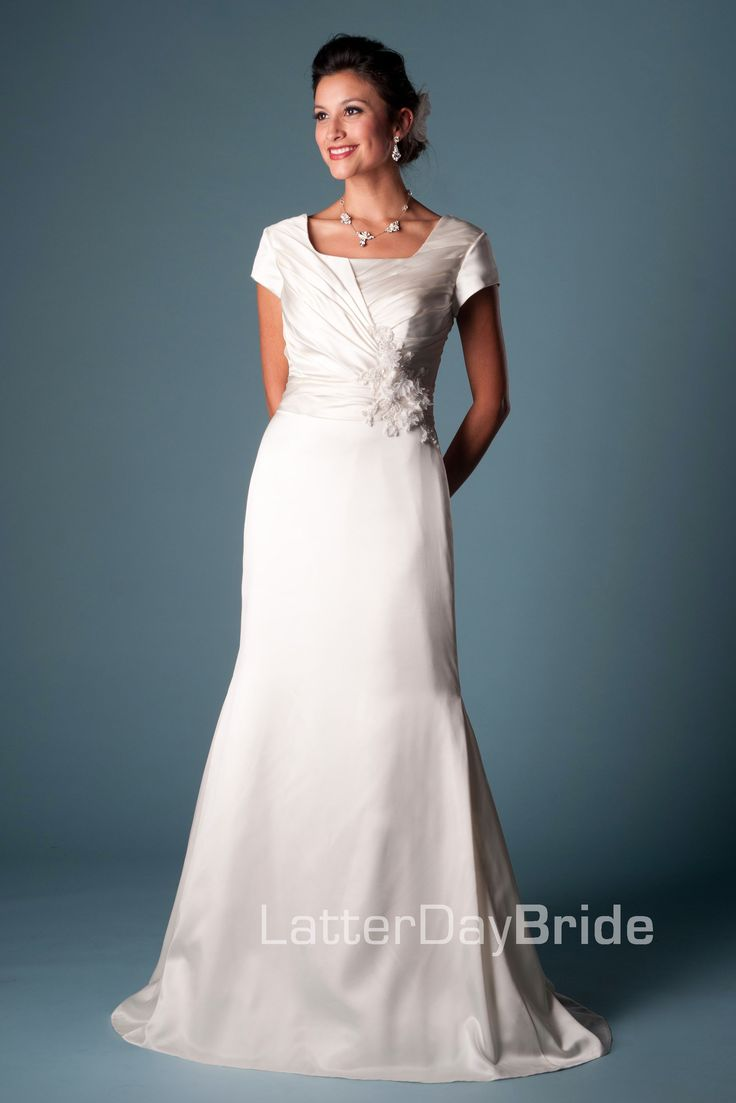 Modest wedding dress lundquist latterdaybride prom for Mormon modest wedding dresses