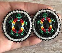 Navajo Native American Beaded Black Green Turtle Oval Powwow Post Earrings