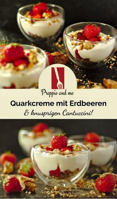 Unser italienisches Menü – als Dolci: Leichte Quark-Joghurt-Creme mit leckeren Cantuccini und Erdbeeren