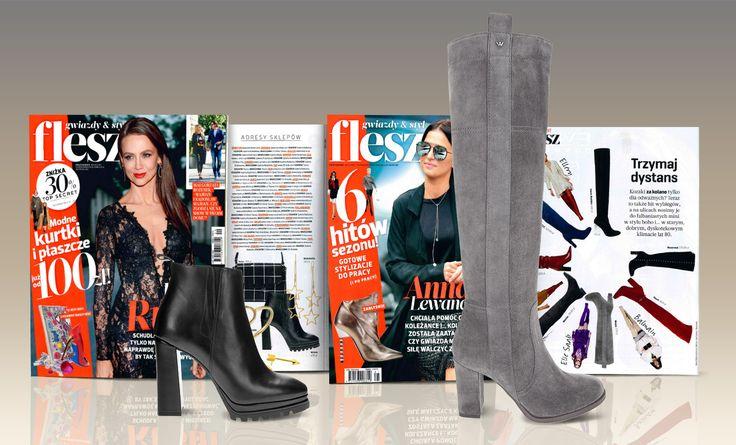 W dwutygodniku FLESZ styliści zaprezentowali między innymi obuwie marki Wojas. Czarne botki na modnym w tym sezonie słupku (https://wojas.pl/produkt/25974/botki-damskie-6603-51) oraz popielate kozaki (https://wojas.pl/produkt/25653/kozaki-damskie-6727-60) . Zapraszamy!