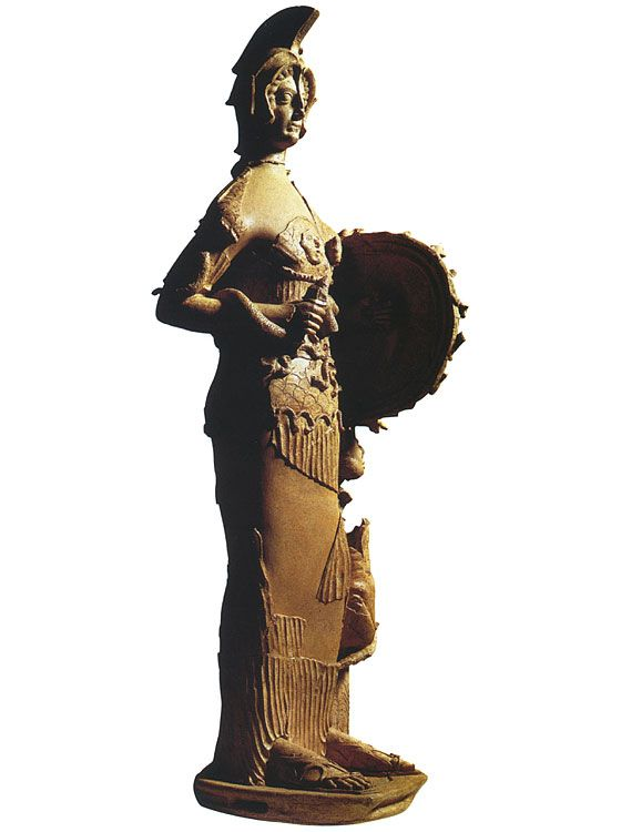 The big terracotta statue of Minerva Tritonia. 4th—3rd century B.C.Pratica di Mare, Depository of University.   Of all the deities portrayed in the Aeneid, Pallas (Minerva, Tritonia) is the least discussed. She appears as a character only once (in 2.615-16, as Aeneas is shown the gods orches-trating the fall of Troy), and even that is mediated through Venus.