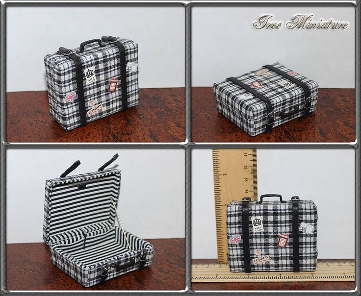 Dollhouse miniature vintage checkered suitcase travel with travel stickers. Collectible. Handmade 1:12. For tiny bjd. Luggage. Trunk. by IreeMiniature on Etsy