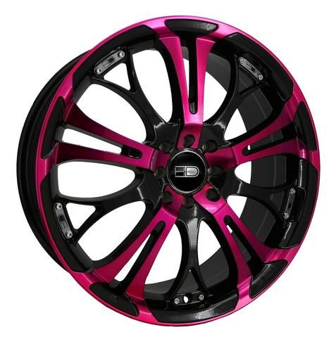 Dub Custom Wheels BLACK AND PINK | HD WHEELS SPINOUT PINK/BLACK 17 inch Rims Pink Wheels