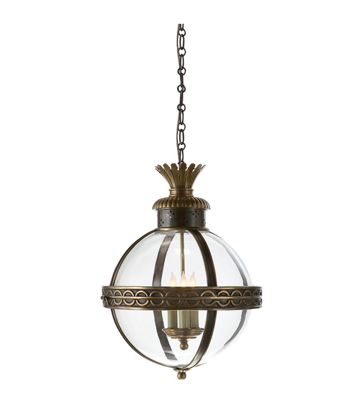 Crown Top Banded Globe Lantern In Antique Burnished Brass With Clear Glass
