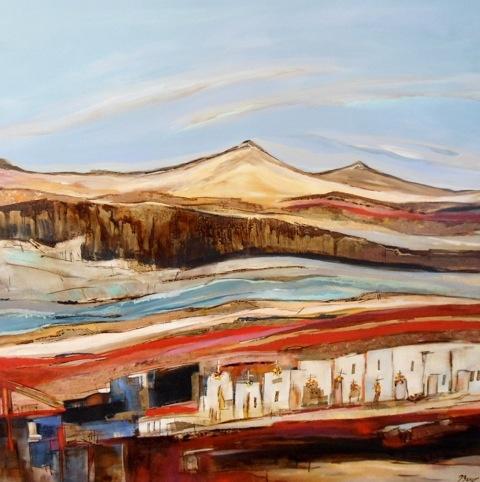 Pinturas en tela de Paulina Beyer  Artista chilena  Pueblo de Ayquina  Mixta tela  80x80cm  2011  US$ 1,059  EUR$ 719
