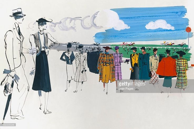 Spectators at a horse race; On left half of image a couple observes the race with a pair of women conversing beyond; On the right half a group of women wearing the latest fashions: (left to right) One wears a plaid topcoat and jacket over a tweed skirt, outfit by Hattie Carnegie; One wears a two piece plaid suit by Jaeger; One wears an apricot suede front jacket with a black tweed skirt; One wears a three piece suit of Linton tweed with red scarf at neck; One wears a camel hair jacket with…