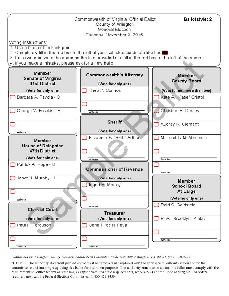 Sample ballot, Arlington County, Virginia (2015) | Ballot design ...