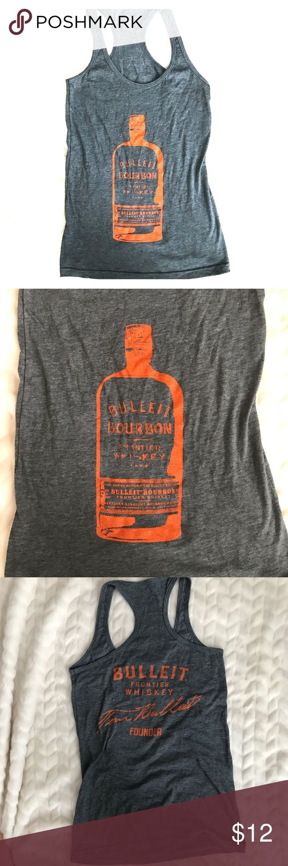 Bulleit Bourbon racerback tank! Hit the gym or the beach in this tank representing popular Bourbon brand, Bulleit Bourbon. Ladies fit to accentuate all your curves, AND muscle! Perfect tank while being a badass at the gym, or during crossfit. Sadly this is too small for me, so let's give it a great home! This tank showcases an embellished front AND back outlines in firehot- orange! Resembles a tank from Buckle! Perfect for all of my country girls out there as well!!! Buckle Tops Tank Tops