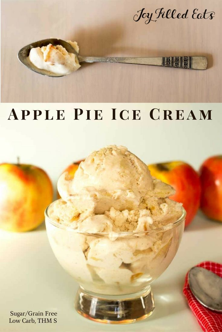 Apple Pie Ice Cream. Low Carb, Sugar Free, THM S. Cinnamon ice cream with chunks of cooked apples and pieces of pie crust. via /joyfilledeats/