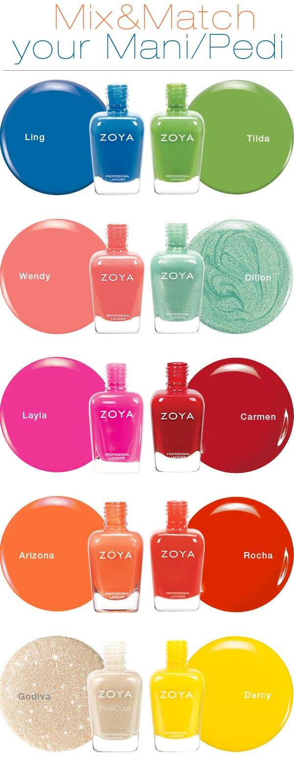 ZOYA | Meet Your Match! Mani and Pedi Combinations | * Blue + Green  * Coral + Aqua  * Hot Pink + Red  * Orange + Vibrant Orange/Red  * Sand + Yellow