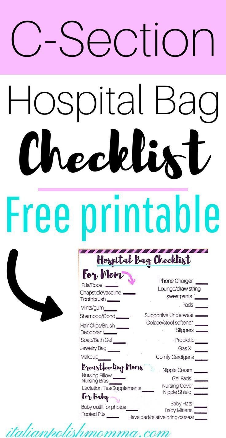 A Simple C Section Hospital Bag Checklist Babies Pinterest Pregnancy And