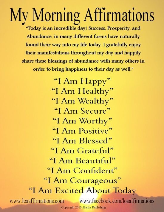 "Vision Boards And Affirmations | Vision Board / Hi everyone! Here is a ""Morning Affirmations"" poster I ..."
